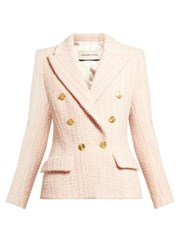 Alexandre Vauthier Double Breasted Wool Blend Tweed Jacket Light Pink