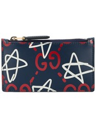 Gucci Ghost Logo Card Holder Blue