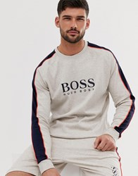 Boss Bodywear Contemporary Logo Crew Neck Sweat In Grey