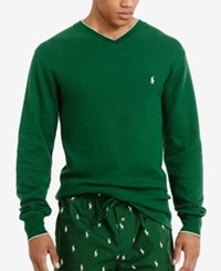 Polo Ralph Lauren Men's Tipped Thermal V Neck Shirt Holiday Green