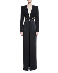 Brandon Maxwell V Neck Cutout Waist Long Coat Black