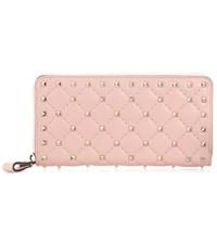 Valentino Rockstud Leather Wallet Pink