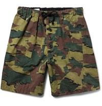 Dries Van Noten Camouflage Print Cotton And Linen Blend Shorts Green