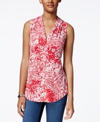 Charter Club Paisley Print Pleated Neck Top Only At Macy's Red Barn Combo