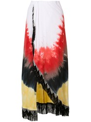 Baja East Blurry Print Maxi Skirt Women Cotton 1 White