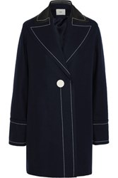Edun Leather Trimmed Wool Blend Coat Navy