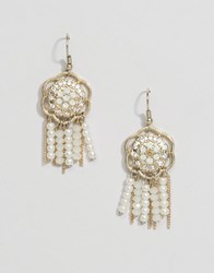 Oasis Faux Pearl Drop Earrings Gold Cream