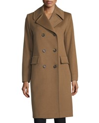 Fleurette Notched Collar Double Breasted Wool Coat Vicuna