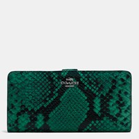 Coach Skinny Wallet In Python Embossed Leather Silver Forest