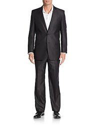 Versace Slim Fit Tonal Striped Wool Blend Suit Black