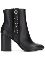 Grey Mer Button Detail Ankle Boots Black