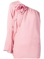 Elie Saab Embellished One Sleeve Blouse Pink