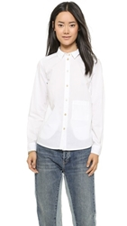 Marc By Marc Jacobs Lyra Washed Poplin Button Down Wicken White