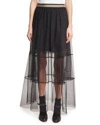Brunello Cucinelli Sheer Tiered Tulle Maxi Skirt With Contrast Waist Black