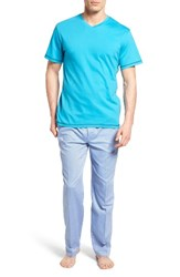 Robert Graham Men's Fusion Pajama Set Turquoise Blue