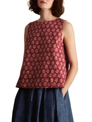 Toast Block Print Cotton Top Burgundy Multi