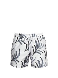 Commas Watercolour Palm Print Swim Shorts White Multi
