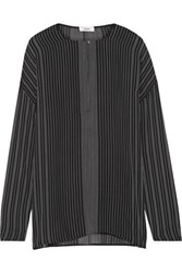 Vince Striped Silk Crepe De Chine Blouse Black