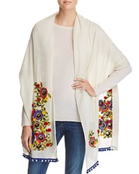Tory Burch Avalon Floral Embroidered Scarf Ivory Multi Floral