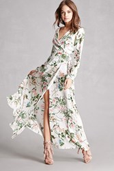 Forever 21 Reverse Floral Wrap Maxi Dress White