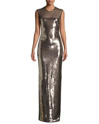 Tom Ford Sleeveless Liquid Sequin Evening Gown With Illusion Pink