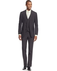 Kenneth Cole Reaction Charcoal Texture Grid Slim Fit Vested Suit