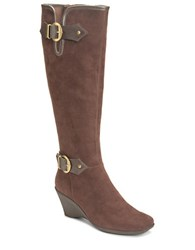 Aerosoles Wonderful Faux Suede Boots Brown