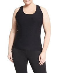 X By Gottex Plus Racerback Zip Pocket Tank Black Gold