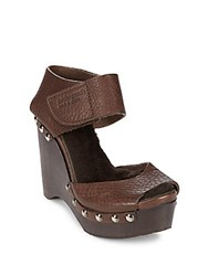 Pedro Garcia Alanis Shearling Lined Wedge Sandals Silt