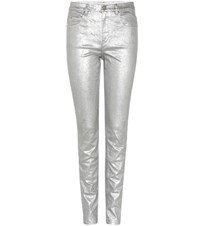 Etoile Isabel Marant Ellos Metallic Cotton Blend Jeans Silver