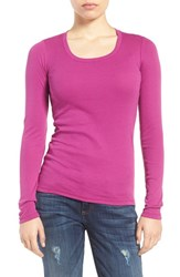 Caslonr Women's Caslon 'Melody' Long Sleeve Scoop Neck Tee Purple Clover