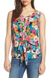 Pleione Convertible Tie Tank Top Turquoise Floral Print