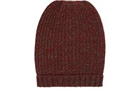 Barneys New York Men's Chevron Cashmere Beanie Red Brown