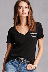Forever 21 The Future Is Woman Graphic Tee Black