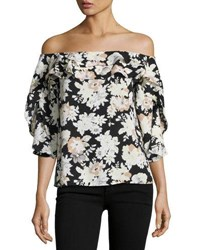 Collective Concepts Off The Shoulder Floral Top Black White
