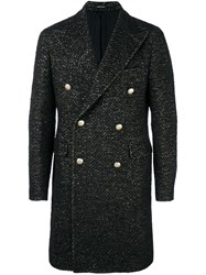 Tagliatore Tweed Double Breasted Coat Black