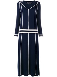 Chinti And Parker Contrast Sweater Midi Dress Blue