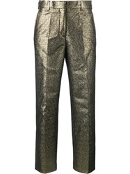 Dries Van Noten Pulley Cotton Blend Cropped Trousers Metallic