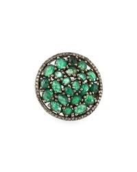 Bavna Round Emerald And Diamond Cocktail Ring Women's