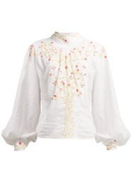 Thierry Colson Teresa Floral Embroidered Cotton Blouse White Multi