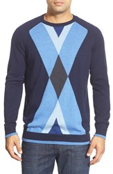 Men's Bugatchi Merino Wool Argyle Crewneck Sweater Navy