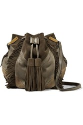 Isabel Marant Kylio Fringed Suede And Leather Shoulder Bag Army Green
