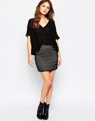 Goldie Down The Line Stripe Skirt In Lace Black