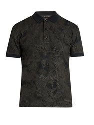 Valentino Butterfly Print Cotton Pique Polo Shirt Black Multi