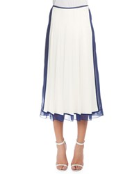 Victoria Beckham Pleated Skirt W Sheer Trim White Blue Women's