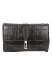 Jane Norman Black Croc Buckle Clutch Bag