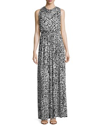 Rachel Pally Splatter Print Draped Maxi Dress Black Graffiti