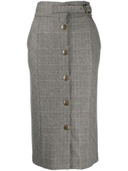 Twin Set Checked Pencil Skirt Grey