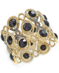 Inc International Concepts Gold Tone Jet Stone And Crystal Filigree Stretch Bracelet Only At Macy's