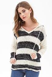 Forever 21 Striped Sweater Knit Hoodie Cream Black